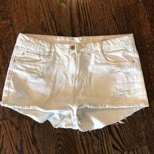 Zara Ripped White Jean Shorts